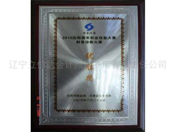 2010年沈阳青年职业技能大赛财务诊断大赛,优胜奖